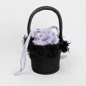 Black basket bag with lavender liner by Indego Africa