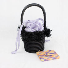 Load image into Gallery viewer, Indego Africa black basket bag with lavender lining