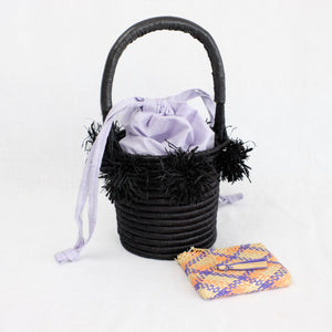 Indego Africa black basket bag with lavender lining