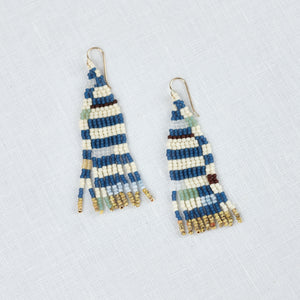 Beaded earrings in abstract blue and cream stripe with gold, aqua and coral accents. Dangle earrings by Alice Rise.