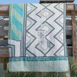 wood block printed Indian quilt in light weight cotton