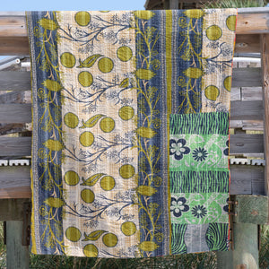 cotton Kantha quilt with multi prints from India