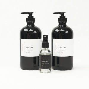 Santal collection of hand wash, hand lotion and hand sanitizer by Lightwell Co. Each sold separately.