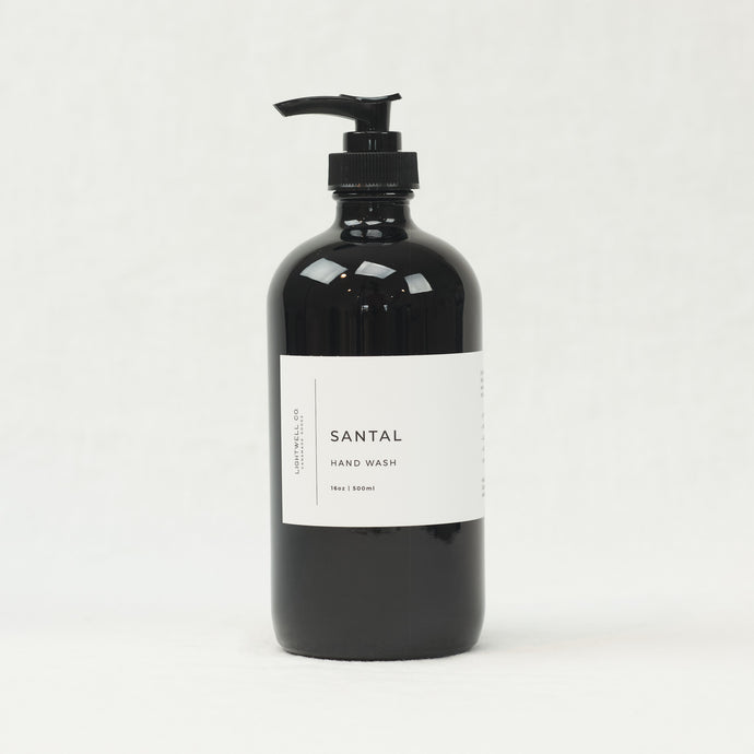 Santal hand wash by Lightwell Co., 16 oz bottle.