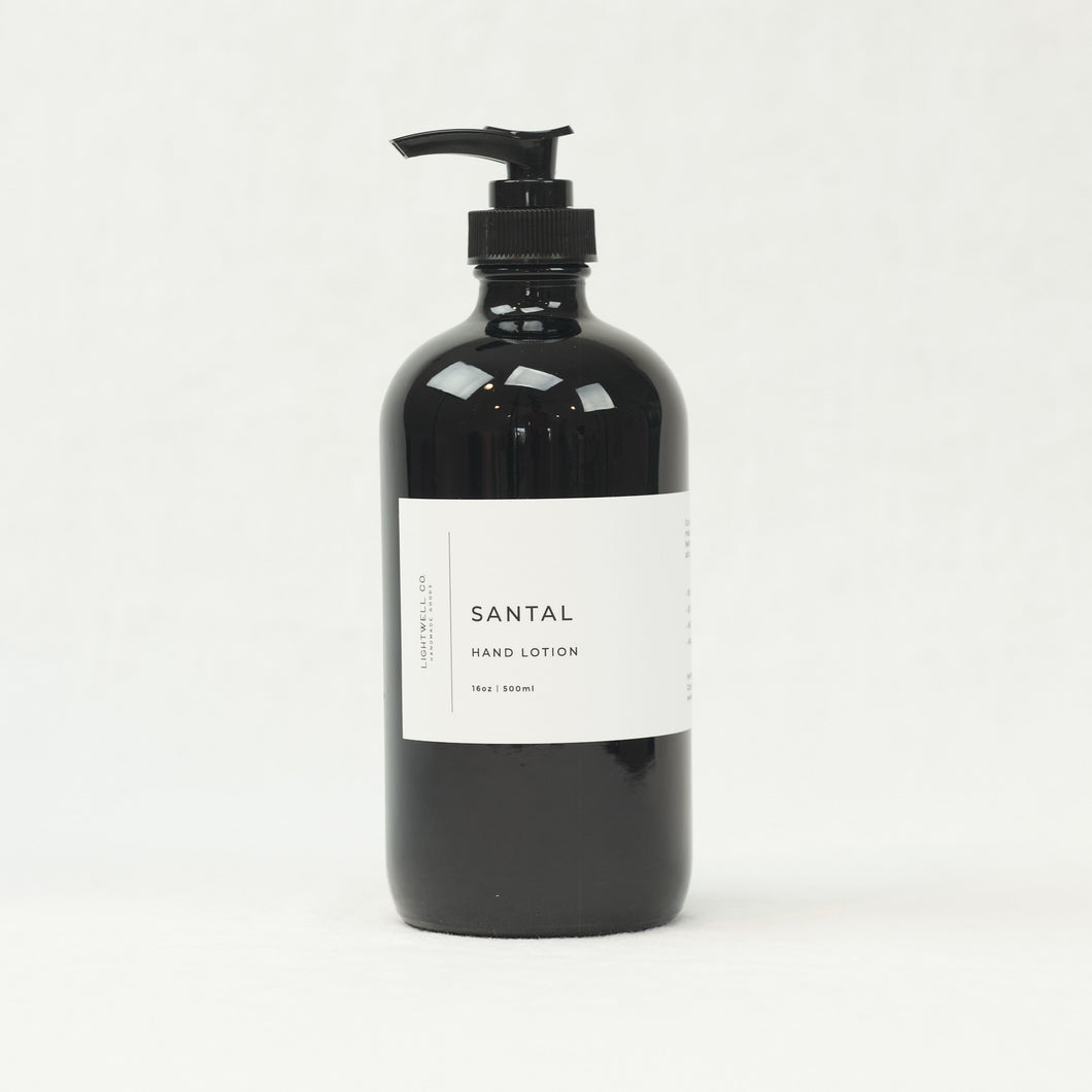 Santal Hand Lotion by Lightwell Co., 16 oz bottle.