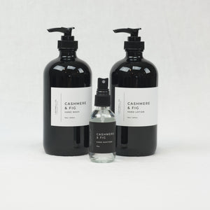 Cashmere & Fig hand lotion, hand wash & hand sanitizer collection by Lightwell Co.  Each sold separately.