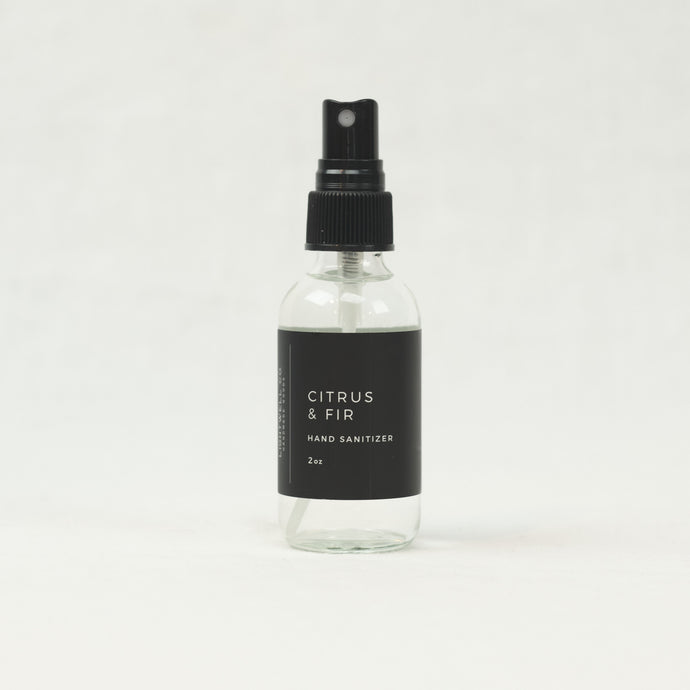 Citrus & Fir scented hand sanitizer by Lightwell Co., 2 oz spray bottle.