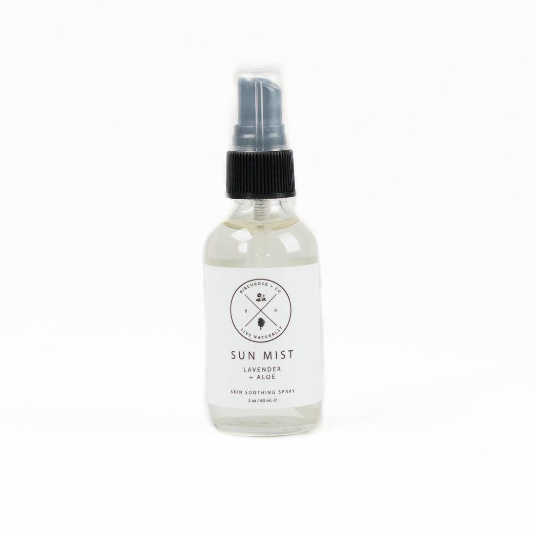 Sun Mist with aloe & lavender by Birchrose is a cooling after sun mist to relieve skin.