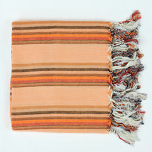 Load image into Gallery viewer, orange and rust striped cotton Turkish towel with fringe