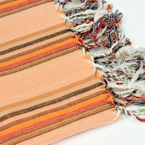 hand loomed Turkish cotton towel in orange and sepia multi stripe