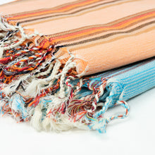 Load image into Gallery viewer, Turkish towel in orange multi stripe with fringe