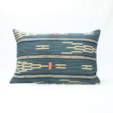 Load image into Gallery viewer, Indigo Baule Pillow with neon pink and orange decorative stitching. Small rectangular shape.