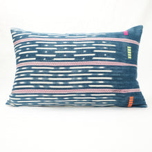 Load image into Gallery viewer, Bright indigo Baule pillow with soft pink stripes and an ivory pattern.