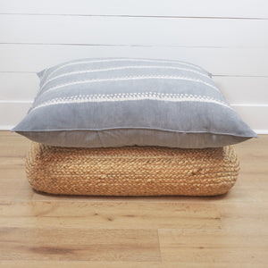 Tensira floor cushion in grey shibori stripe.