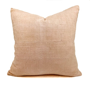 "Mudcloth boho pillow hand dyed in blush pink from natural dyes. Measures 20"" square, down insert is included."