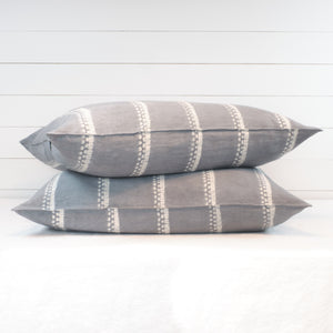 Tensira floor cushions, stack of 2 in grey shibori stripe.