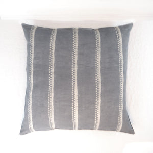 Grey shibori stripe floor cushion by Tensira.
