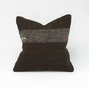 "16"" square vintage wool kilim pillow in espresso brown with grey stripe. Embroidered accents in ivory and red."