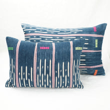 Load image into Gallery viewer, Large and small indigo Baule pillows shown together.