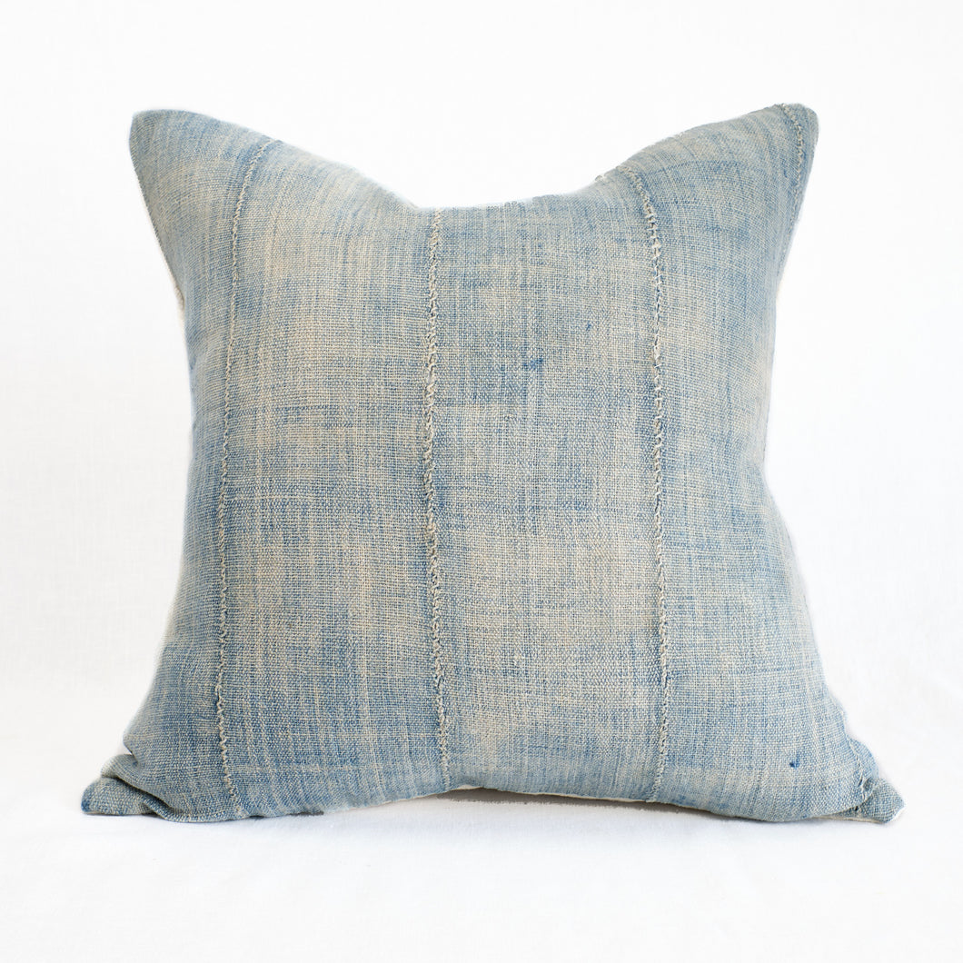 throw pillow in faded indigo mud cloth