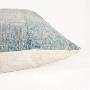 artisan mud cloth pillow in faded indigo with natural cotton back