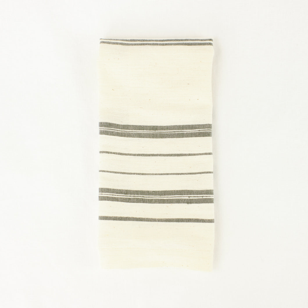 Hand woven tea towel in natural and grey stripe