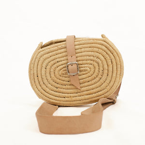 beach belt bag in seagrass with leather strap