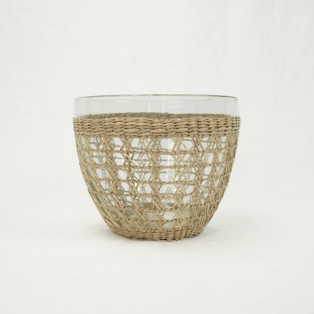 Medium glass serving bowl in a dried seagrass cage.