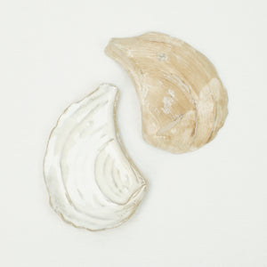 Ceramic Abalone Plates by Yarnnakarn. Sand color with white glossy glaze.