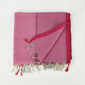 Turkish cotton towel in bright pink with fuchsia stripes and border