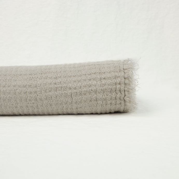 Waffle Linen Throw, Light Grey