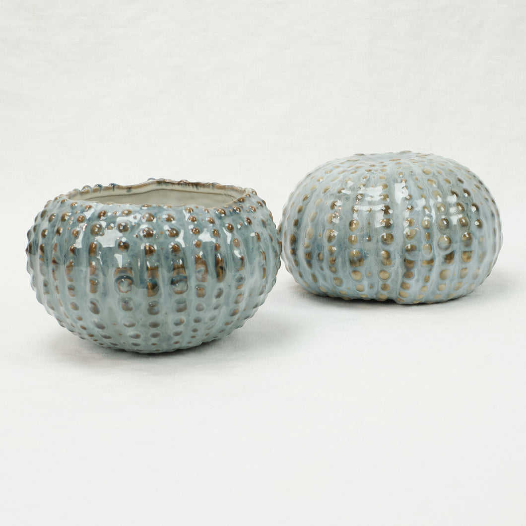 Urchin shaped ceramic bowl in pale blue glaze by Yarnnakarn.