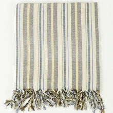 Load image into Gallery viewer, Turkish cotton towel in cream with grey, yellow and blue multistripe