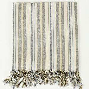 Turkish cotton towel in cream with grey, yellow and blue multistripe