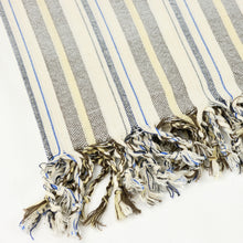 Load image into Gallery viewer, Turkish towel in cream cotton with yellow, grey and blue multistripe and fringe
