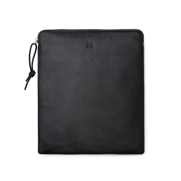 Bag for headphones, black leather