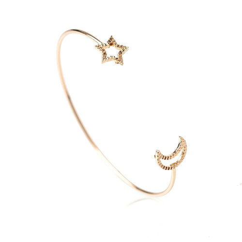 To the Moon & Stars Open Cuff Bracelet