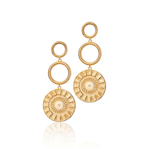 Three Step Coin Earrings