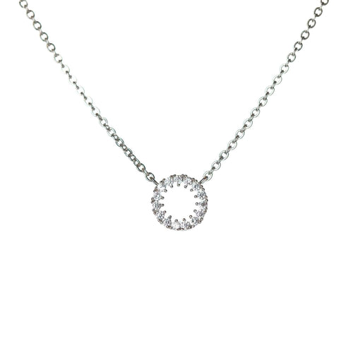 Circle Pendant White Gold