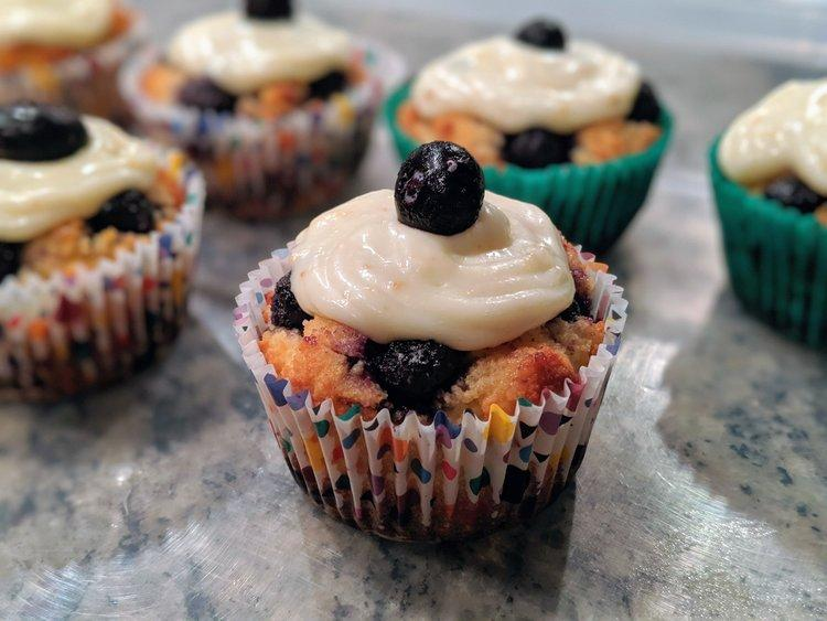 Low Carb Keto Blueberry Muffin Recipe with Lemon Icing