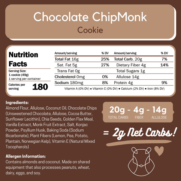 Chocolate ChipMonk Keto Sugar-free gluten-free low-carb Box of 6 to 18 Cookies