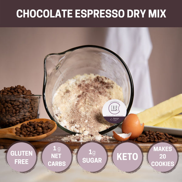 Chocolate Espresso Dry Mix Keto Sugar-free gluten-free low-carb Makes 20+ Cookies