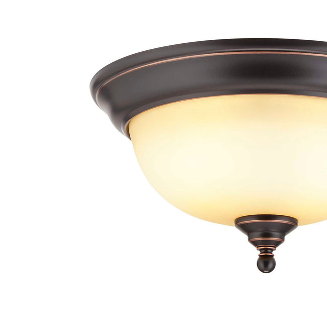 technology-Flush Mount Ceiling Light With Amber Glass Shade - 13