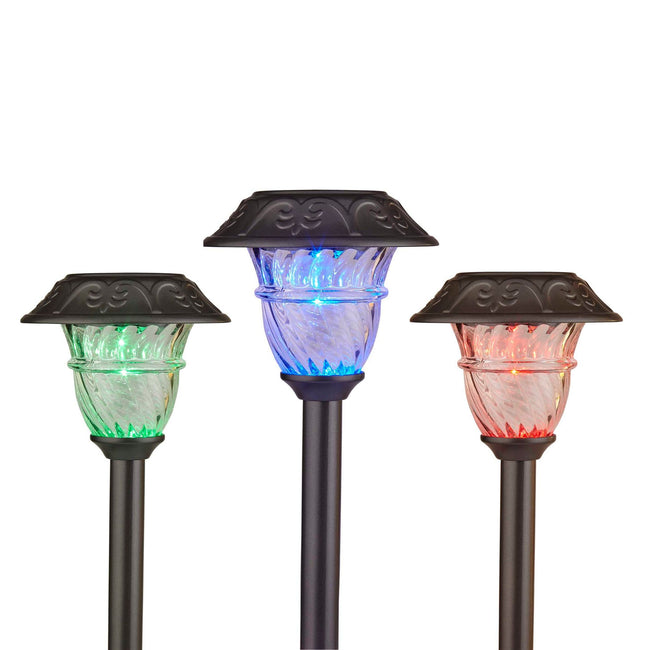 technology-Solar Powered LED Path Lights - Color Changing Stake Lights With Auto On/Off - 2 Pack - Pearl Grey
