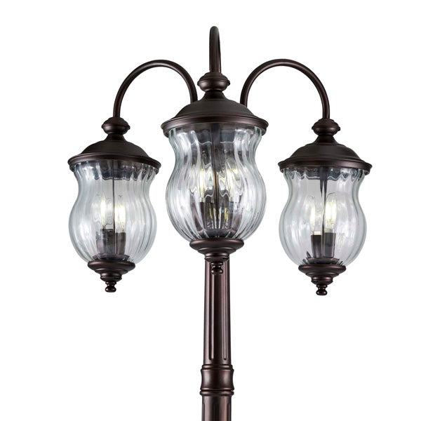 technology-Astoria Outdoor Lamp Post / Street Light Waterproof Three-Head Down Facing  - 7 Ft - Oil Rubbed Bronze