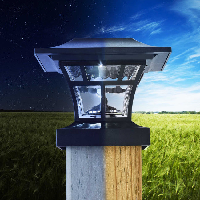 technology-Ribbed Solar Post Cap LED Lights With Auto On/Off - 2 Pack - Black