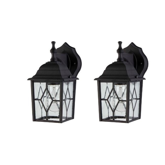 technology-Diamond Outdoor Wall Lantern / Sconce Down-Facing Waterproof Light - 2 Pack - Black