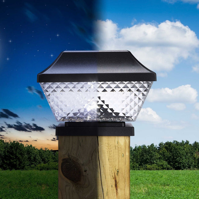 technology-Diamond Solar Post cap LED Lights With Auto On/Off - 6 Pack - Black