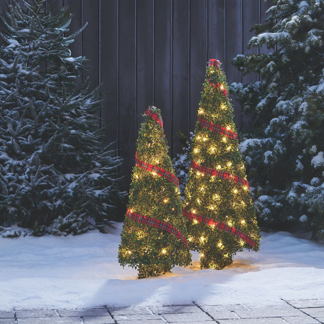 technology-Winter Garden Pre-Lit LED Cone Trees Christmas Lawn Décor - 2 Pack