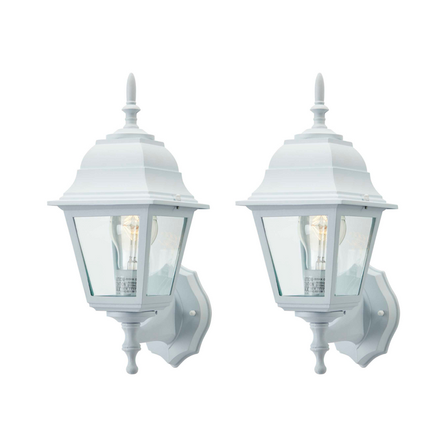 technology-Coach Outdoor Wall Lantern / Sconce Reversible Waterproof Light - 2 Pack - White